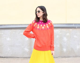 vintage mod coral orange knit crewneck sweater