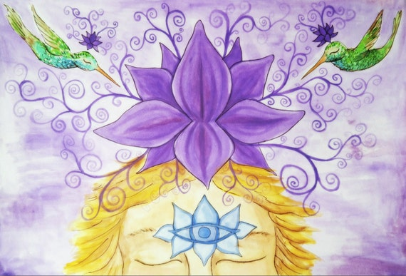 Violet Lotus Crown Chakra Rainbow Hummingbird Children Yoga Art print