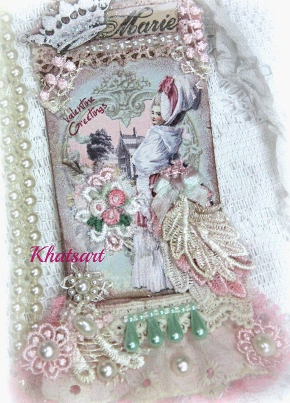 Vintage Antique Marie Antoinette Gift Tag, Gift Tag ,Mixed Media Tag, Lace Tag, handmade art tag,