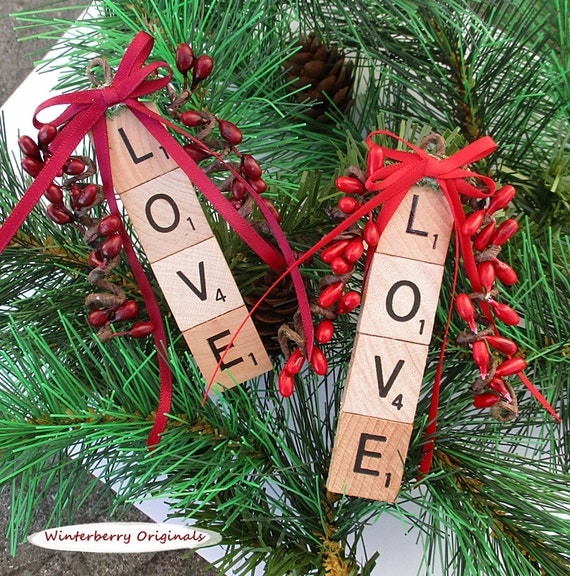 LOVE Christmas Ornament -  Scrabble Ornament - stocking stuffer, package tie-on, co-worker gift - Choice of red or burgundy berries & bow