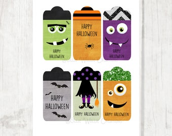 Halloween Party Tags | Party Favor | Gift Tags - INSTANT DOWNLOAD
