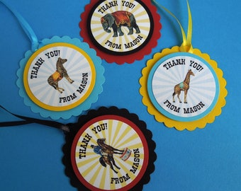 Circus Party Favor Tags, Vintage Circus Birthday Favor Tags, Personalized set of 12