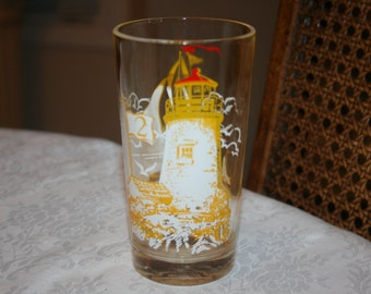 Vintage Sail Boat and Lighthouse Glass Tumbler with # 2 yellow, white, red colors