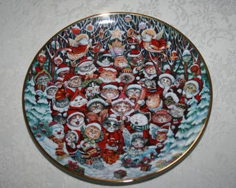"Vintage Franklin Mint Heirloom "" Santa Claws "" by Bill Bell Cat Christmas, Holiday, China Plate"