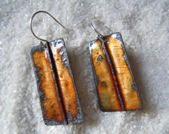 Weathered Golden Brown Enamel Dangle Earrings
