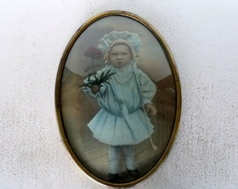 "Large 20"" Oval Brass Frame Convex Glass Antique Tinted Portrait Tinted Child"