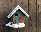 Moss Green Farmhouse Birdhouse Cottage Chic Functional Bird's House For Birds, Custom Nest Box Garden Yard Art Birdhouses Item #500126461