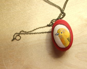 Over yellow bird Necklace - Wood Bead bird illustration necklace