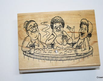 Diamonds rubber stamp - The Hot Tub - F6038 - Vintage - 1997 - Temecula CA - Crafting - Supplies