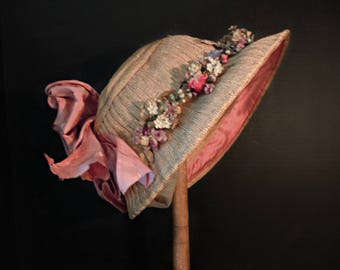 Vintage Victorian  Straw Hat / Velvet Millinery Flowers / 1800's Victorian Decorated Straw Bonnet / Prairie Wedding / Flower Girl /