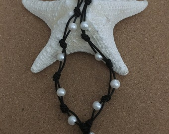 Black LEATHER and FRESHWATER Pearl Necklace - Bracelet - Wraps Around Wrist 3 Times - Knotted - White Pearls - Any Size - Made in USA