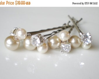 ON SALE Bridal Pearl and Rhinestone Hair Pin Jewelry. Taupe Ivory. Shower Gift. Prom. Bride Maids. Shower Gift