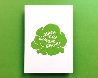 "Kitchen Art Print Lettuce ""Lettuce eat more greens"", fits IKEA RIBBA frame 8x10"" / 18 x 24 cm"