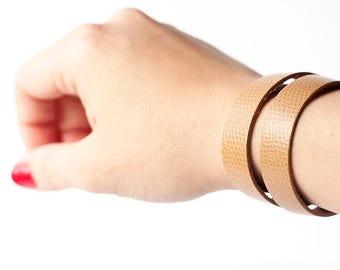Leather Bracelet / Slim Wrap Cuff / Khaki