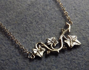 Ivy Vine Charm Necklace in Brushed Silver Plate (Style 8)