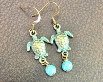 Antique Gold Turquoise Turtle Earrings!