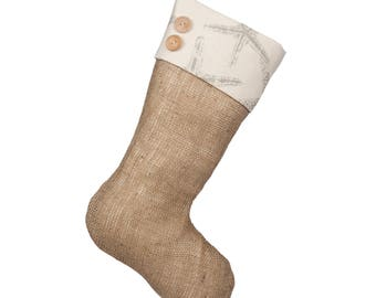 Starfish Christmas Stockings - Burlap Boot with Starfish Cuff and Two Wooden Buttons - Single Stocking (1)