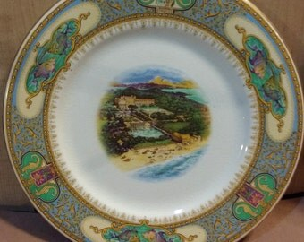 Antique Elbow Hotel Large Plate Woods Limited Ornate Sea Theme 1920s Bermuda