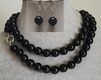 jade set- 12mm black jade necklace 17-46 inch & earrings set