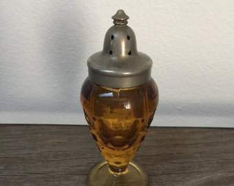 Vintage amber shaker glass salt and pepper with lid