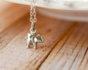 Wee Elephant Necklace in Sterling Silver