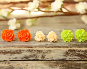 Flower Earring Studs Trio: Palest Peach Rose, Orange Scrunch Rose, Lime Ribbon Flower