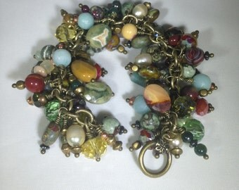 Vintage Inspired Multistone And Czech Bead Cha Cha Bracelet, Charm Bracelet