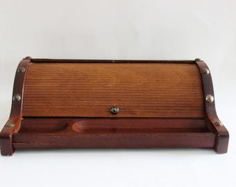 Vintage swank gentlemen's wood box, jewelry box, office supply storage