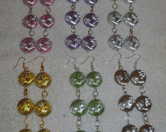Handcrafted Dangle Beaded Earrings-Green/Gold/Pink/Brown