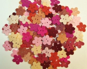 Wool Felt Blend Flower Buttons Die Cut (precut) with two button holes