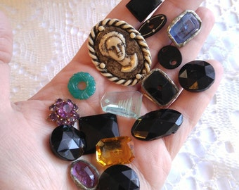 Vintage to antique lot of sparkly glass gems, buttons, beads! craft lot of victorian jet onyx cameo