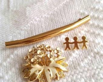 Set of 3 vintage brooches flower broach bar pin craft repair