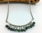 Turquoise Bar Necklace   Boehmian Necklace    African Turquoise Necklace           Item 971
