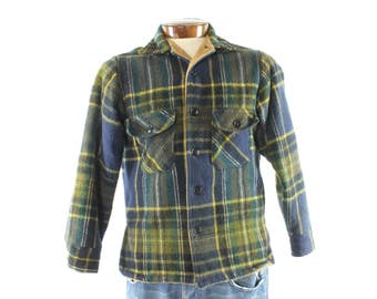 Vintage 50s Chippewa Plaid Shirt Heavy Wool Button Up Jacket Lined Flannel 1950s Men's Medium M Work Chore Barn