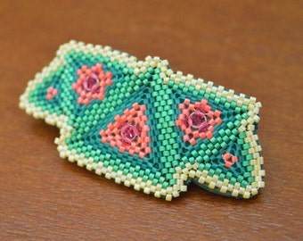 Triangle Hair Barrette - Geometric Flower Hair Clip - Swarovski Crystals Pink Green Ivory