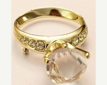 Vintage Engagement Ring Brooch by AJC