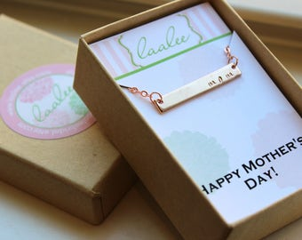 READY TO SHIP Mothers Day Jewelry, Mothers Day Gift, Mom Necklace, Mom Jewelry, Rose Gold Bar Necklace, Rose Gold Bar Jewelry, Push Present