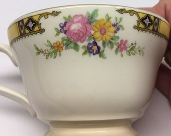 Edwin M. Knowles China Footed  tea cup Made in USA 41-3 Yellow Band With Purple and Black Pink Roses