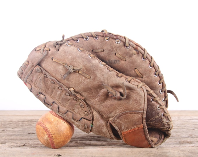 Old Leather Baseball Glove / Vintage Baseball Glove / Top Grain Cowhide Baseball Glove / Antique Baseball Glove / Old Glove Antique Mitt