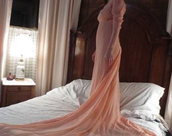 1930s Pink SILK CHIFFON GOWN With Train