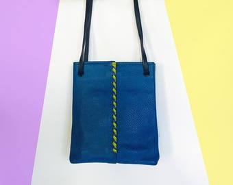 Royal Blue and Neon Green Leather Handbag Tall Tote Designer Hans Koch SoHo New York Vintage
