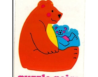 SALE Rare Vintage Illuminations Puzzle Pairs Adorable Teddy Bears Mom and Child Sticker 1983