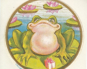 SALE Frog on a Lilypad Rare Vintage Illuminations Sticker - 80's Lily Toad Pond
