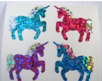 SALE Unicorn Strip of Two Vintage Hambly Glitter Sticker Mods - 8 stickers total - 80's Pink Aqua Purple Blue