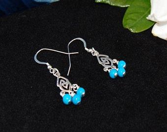 Turquoise Sterling Silver  Chandelier Earrings
