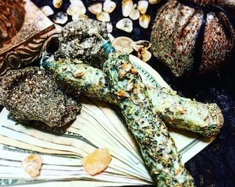 FORTUNE Loaded Herbal Alchemy Candle, 6 Inch Green Pillar, Goddess Fortuna