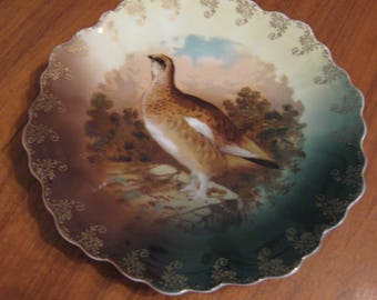 Antique Z.S. & Co. Bavaria Grouse Wall Plate