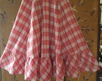 80s red and white gingham full swing /country skirt with frilly hem by The Brass Plum, Nordstroms
