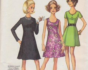 1970 Classic Basic Princess Seam Dress Vintage Pattern, Simplicity 8887, Miss Petite, Jewel or Scoop Neck, Long or Short Sleeves, Sleeveless