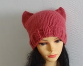 Pink Ears Cat hat Beanie Chunky Knit Winter Accessories Animals Hat cat ears hat women pussyhat Raspberry Pink Knit cat Hat  Pink Cat Hat